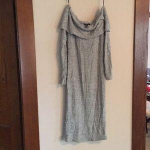 Grey open shoulder dress